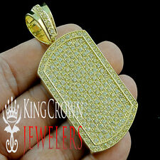 Mens Iced Out 14k Yellow Gold Finish Canary Lab Diamond Dog Tag Pendant Charm