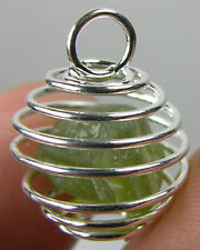 Arizona USA 100% Natural Raw Peridot Crystal Specimen in Spiral Cage Pendant
