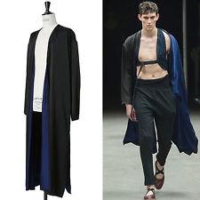 runway DRIES VAN NOTEN SS15 black pinstripe blue lined long kimono robe jacket L