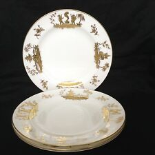 LE TALLEC FRANCE FRENCH LIMOGES RARE CIRQUE CHINOIS Pagoda Or Gold Salad Plates