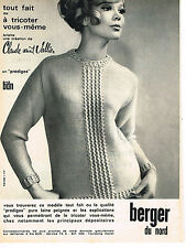 PUBLICITE ADVERTISING 094  1965  BERGER DU NORD   laines tricots