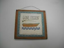gone fishin wood wooden wall art sign hunting cabin decor camper camping fishing
