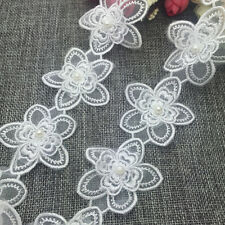 New 1 Yards 2-layer 55mm Embroidered Flower Applique Pearl Core Lace Trim #SUK11