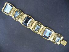 Vintage Mexico 925 Sterling SilverTaxco Bracelet with Blue  crystal or glass