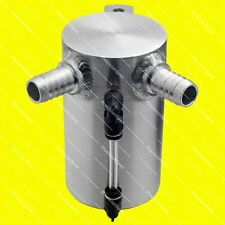 0.5L Baffled Brushed Aluminium Oil Catch Can Breather Tank Reservoir 15mm Inlets