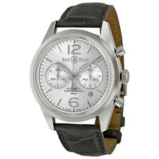 Bell and Ross Vintage Officer Silver Dial Stainless Steel Grey Leather Mens