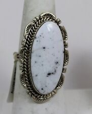 Navajo Indian Ring White Buffalo Turquoise Size 8-1/2 Sterling Silver Augestine