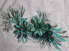 Large Vivid 3D Teal Green Floral Embroidery Applique Motif Lace Sewing  EB0282
