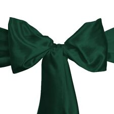 "100 Forest Hunter Green Satin Chair Cover Sash Bows 6""x108"" Banquet Made in USA"