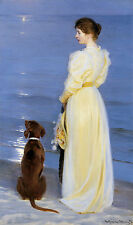 Summer evening at Oil on canvas Kroyer Strand Frau Abend Mond Hund B A3 03055