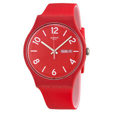 Swatch Backup Red Red Dial Red Silicone Rubber Mens Watch SUOR705