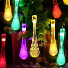 20 Multi-Colour Teardrop Icicle Hanging Lights  LED Solar Powered String Lights