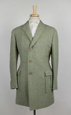 New D'AVENZA HARRIS TWEED Green Tweed Wool 3/4 Length Coat 50/40 R $3795