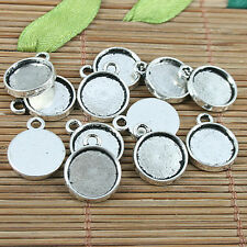 20pcs Tibetan silver round shaped cabochon settings charms h2876