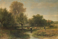 Oil painting william roelofs landscape to oosterbeek landscape with cattle art