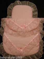 Beautiful Pram Quilt and Pillow Set PINK  romany Style suitable fo MOST PRAMS