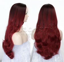 Fashion Long Wavy Ombre Wig Two Tone Ombre Black to Burgundy Wig for Women