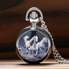 New Silver Case White Horse Quartz Pocket Watch Pendant Necklace Chain Gift 2016