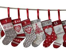 Scandi Christmas Mini Stockings Advent Calendar Bunting PANEL on Cotton Fabric