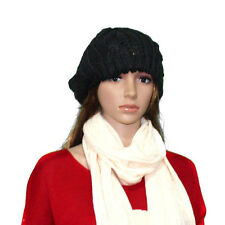 Fashion Warm Winter Women Ladies Beret Braided Baggy Beanie Hat Ski Cap Black