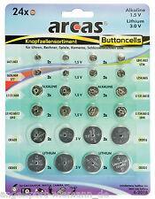 24-teilig Arcas Knopfzellen Set Knopfbatterie Fernbedienung Uhr Rechner Kamera..