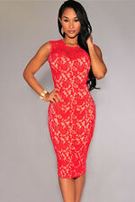 New Ladies Women Towie Evening Cocktail Party Lace Floral Red Dress Size 10 12