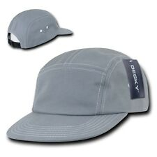 Gray Cotton 5 Panel Stitch Solid Biker Racing Jockey Adjustable Cadet Cap Hat