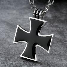 Eisernes Kreuz - Edelstahl Kette mit schwarzer Emaille - Bikerkette - Unisex