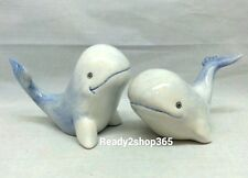 Whale Salt and Pepper Shakers Set Whales Ceramic Nautical Shaker Blue White New