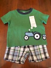 NWT • GYMBOREE Baby Boy's 2-Piece Summer Guy Tractor Tee & Short Set 3-6 mos