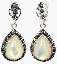 """Marcasite 925 Sterling  Silver Drop Mother of pearl  Earrings  1 1/2"""" Jewelry"""
