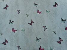 Sanderson Curtain Fabric 'Wisteria & Butterfly' 0.9 METRES Fuchsia/Parchment