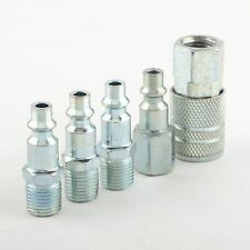 "5 Pc 1/4"" NPT Zinc Air Couplers With Adapter Quick Disconnect Air Hose Fittings"
