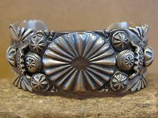 Native American Jewelry Sterling Silver Stamped Bracelet by Delbert Saunders
