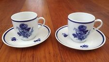 WINTERLING BAVARIA - 2 VINTAGE COFFEE CUPS AND SAUCERS - BLUE AND WHITE FLORAL