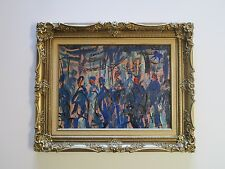 CUCARO PAINTING VINTAGE ABSTRACT MODERNISM PEOPLE FIGURES CITY EXPRESSIONISM