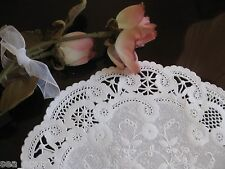 """8"""" INCH WHITE PAPER FRENCH LACE flowers FANCY 25 PCS CRAFT DOILY ROUND WEDDING"""