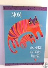 Laurel Burch Deluxe Greeting Birthday Card For Mom Orange Arch Cats Design New