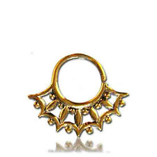 ORNATE 14G 1.6MM BRASS HANGING SEPTUM 9MM RING DIAMETER NOSE TRIBAL HOOK