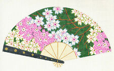 LEE Oriental Cherry Blossoms on Dk. Green FAN handpainted HP Needlepoint Canvas