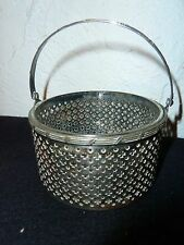 Antique Watrous MFG Nickel Silver 0 225  Collapsible Handle Reticulated Basket