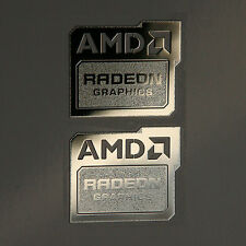 2x AMD Radeon Graphics Chrome Metal Sticker Case Badge New Version 19x16mm