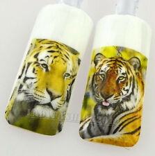 Fashion 3D Nature Cool Tiger Head Water Transfer Nail Art Sticker Decals Tip 70#