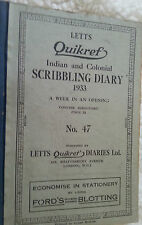 1933 Quikref Indian Colonial Scribbling Diary Letts London Multiple Entries