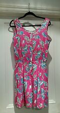 LAURA ASHLEY VINTAGE SUMMER PINK GRUNGE SHORTS PLAY-SUIT DUNGAREES SIZE LARGE