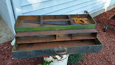 AMAZING Vintage Green Carpenter's Tool Box Case - With Saw! - Folding - COOL!