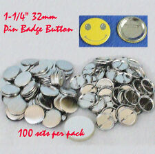"ASC365 DIY Supply 1-1/4""32mm 100sets  Metal Pin Badge Button Parts Button Maker"