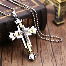 Vogue Women Lady Elegant Stainless Steel Silver Gold Cross Pendant Necklace Gift