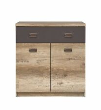 Malcolm New Cabinet Cupboard storage Unit with drawer oak grey bedroom furniture