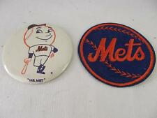 "Vintage Antique New York Mets  1960's  ""Mr MET"" Large Pinback and Patch"